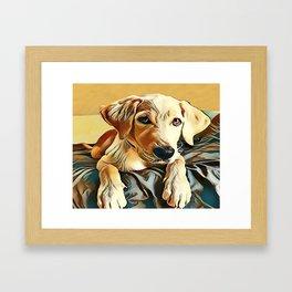 Yellow Labrador Retriever Puppy Framed Art Print