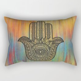 Colorful Golden Hamsa Hand Rectangular Pillow