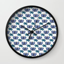 Blue Flowers and Butterflys Wall Clock