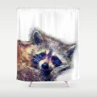 raccoon Shower Curtains featuring Raccoon  by jbjart