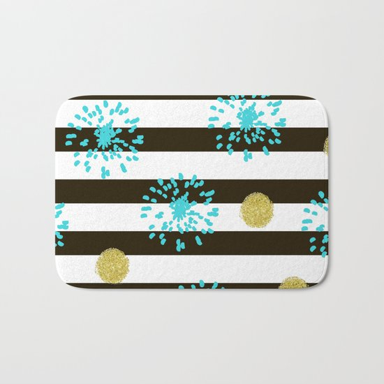 A festive mood. Striped background black and white with blue fireworks and Golden peas . Bath Mat
