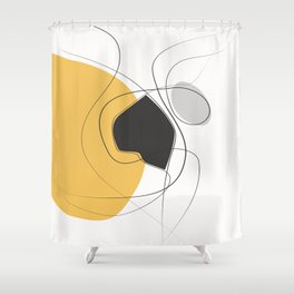 42115-3-1, Mustard yellow Grey & Black, Abstract Geometric Shape Line Art, Trendy home decor, Boho decor, Shower Curtain