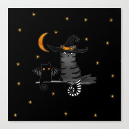 Magic Whitch cat in a hat and her black cat-bat for Halloween Canvas Print