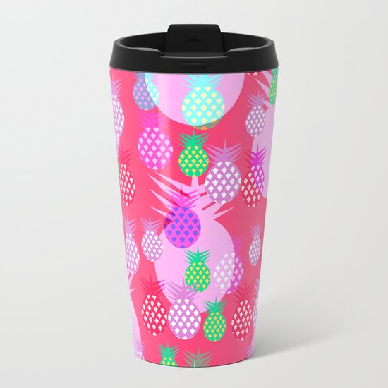 Pink tropical pineapples Metal Travel Mug