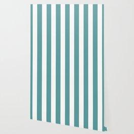 Cadet blue - solid color - white vertical lines pattern Wallpaper