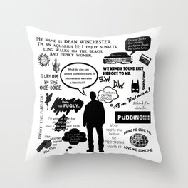Dean Winchester Quotes Throw Pillow