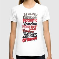 movie posters T-shirts featuring B Movie Beware by ochre7