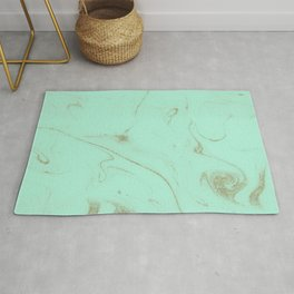 Elegant gold and mint marble image Rug