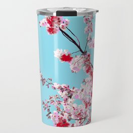 Red Rose Sakura on Bright Blue Background Travel Mug