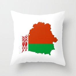 Belarus flag map Throw Pillow