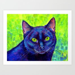 Black Cat with Chartreuse Eyes Art Print