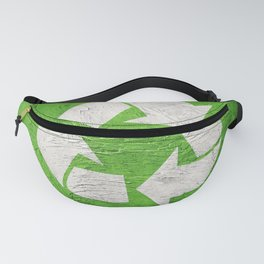 Recycle symbol on Grunge background. Vintage style. Fanny Pack