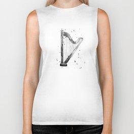 Harp, black and white Biker Tank