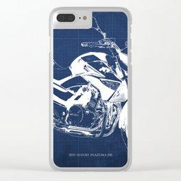 Motorcycle blueprint, 2012 Suzuki Inazuma 250, japanese bike Clear iPhone Case