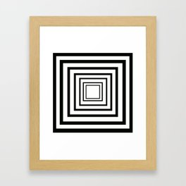Concentric Squares Black and White Framed Art Print