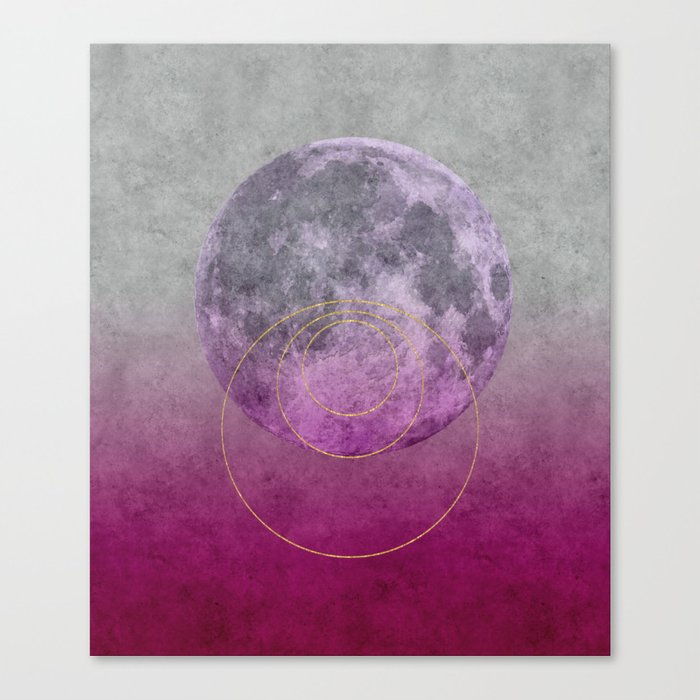 Pink Moon geometric circle mixed media Canvas Print