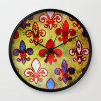 fleur de lis Wall Clocks featuring Fleur de lis #4 by Camille