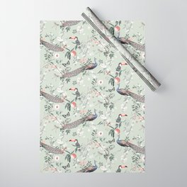 Oriental Peacock Toucan Floral Pattern Wrapping Paper