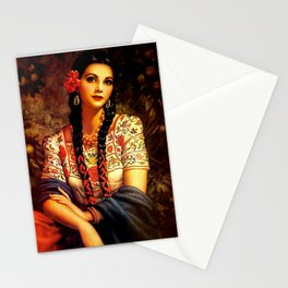Jesus Helguera Painting of a Mexican Calendar Girl with Braids Stationery Cards