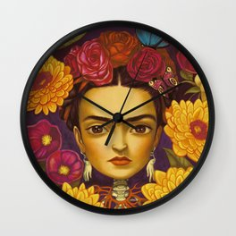 Frida Flowers Wall Clock