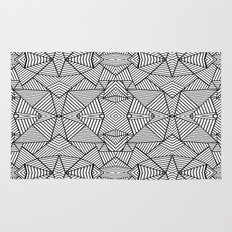 Abstract Mirror Black on White Rug