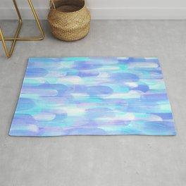 Abstract Layered Brush Texture Cold Shade Blue Cyan Rug