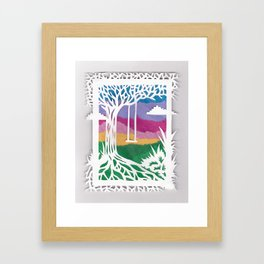 Sunset Swing Papercut Framed Art Print