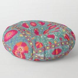 Bokhara Suzani Uzbekistan Embroidery Print With Green Floor Pillow