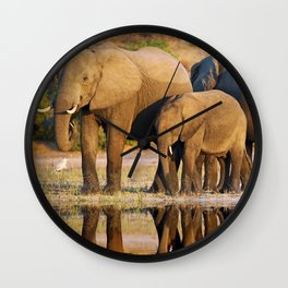 Elephants at a river, Africa wildlife Wall Clock