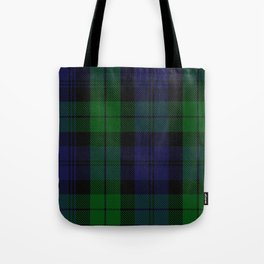 chainsaw blue & green - holiday and everyday black blue tartan black watch plaid check Tote Bag