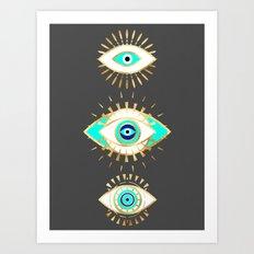 Evil eye times 3 Art Print
