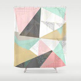Stylish gold triangles geometric design Shower Curtain