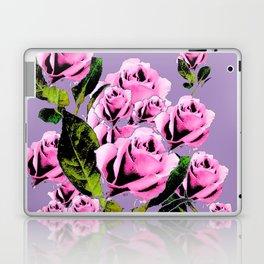 Pink -Black Color  Roses  Lavender Garden Pattern Blue Art Laptop & iPad Skin