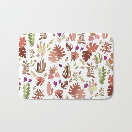 brown leaves and flowers Bath Mat