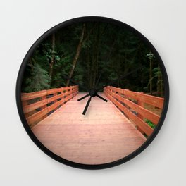 Red Cedar Hiking Bridge Wall Clock