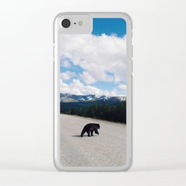 Black Bear Crossing Clear iPhone Case