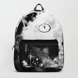 cute cat blue eyes splatter watercolor black white Backpack