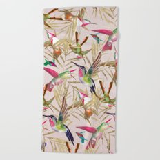 Colorful pink green hummingbird faux gold floral Beach Towel