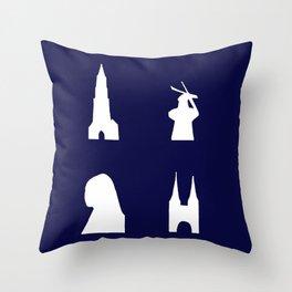 Delft silhouette on blue Throw Pillow
