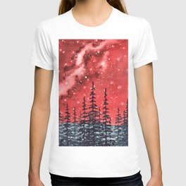 """Red Milky Way"" Galaxy watercolor illustration T-shirt"
