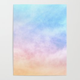 Pastel Rainbow Watercolor Clouds Poster