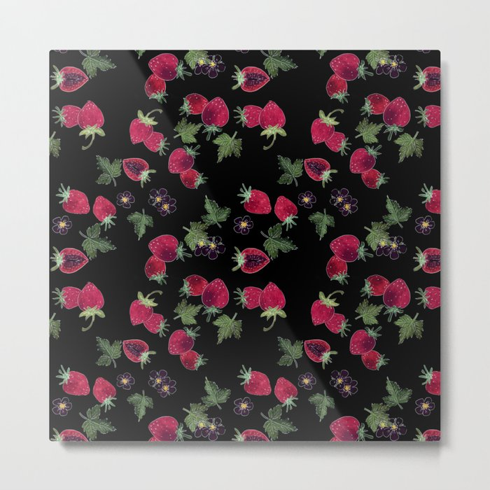 Watercolor. Strawberries on a black background Metal Print