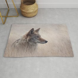 Close Up image of Coyote in a grassland Rug