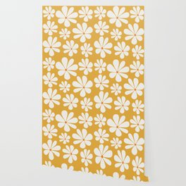 Floral Daisy Pattern - Golden Yellow Wallpaper