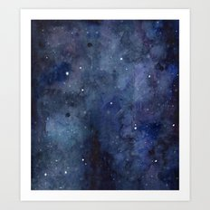 Night Sky Stars Galaxy | Watercolor Nebula Art Print