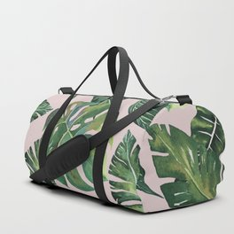 Jungle Leaves, Banana, Monstera Pink #society6 Duffle Bag