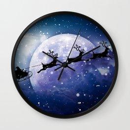 Santa Claus Reindeer Christmas Night Moon Wall Clock