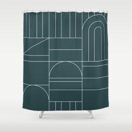 Deco Geometric 04 Teal Shower Curtain
