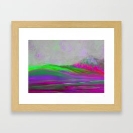 Clouds Rolling In Abstract Landscape Purple and Hot Pink Framed Art Print