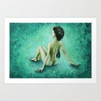 Green Curves / Nude Woman Series Art Print